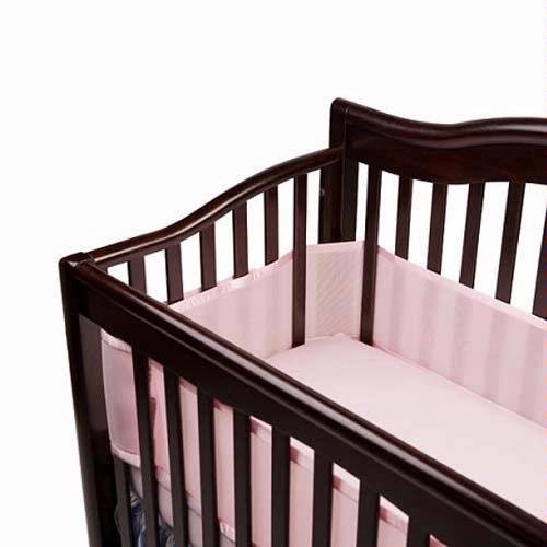 BreathableBaby Crib Bumper for Slatted Cribs - Pink