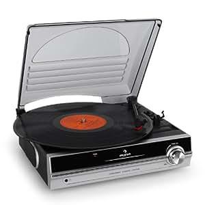 Auna Platine Tourne Disque Vinyle Compacte avec Couvercle (2 Vitesses: 33T 45T , Haut-parleurs intégrés) (Import Allemagne)