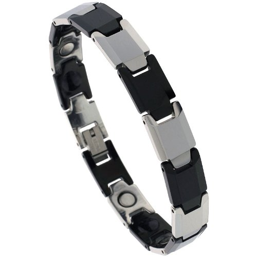 Sabrina Silver Tungsten & Ceramic 2-Tone (Gun Metal & Black) Bar Link Magnetic Bracelet, 3/8 in. (10mm) wide (BTN151)