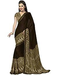 Jaanvi Fashion Designer Brown Georgette Printed Saree