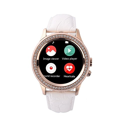 GBD Crystal Diamond Smart Watch for Men Women Lady Round IPS Display Screen Smartwatch for Andriod Samsung Apple Iphone 6 s Plus Bluetooth Camera IP67 Waterproof HeartRate UVA Beauty(White)