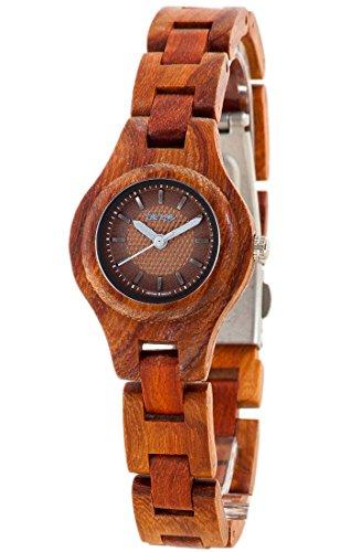 Holzuhr TENSE Womens Pacific Premium Damen-Uhr L7509R-BR - Nat&uumlrliches Rosenholz L7509R-BR