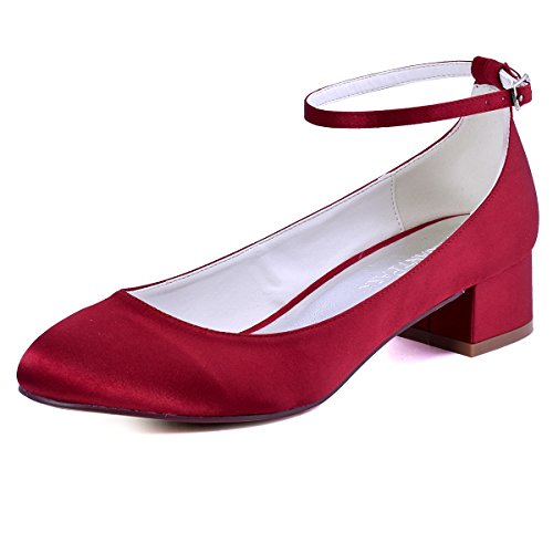 ElegantPark FC1613 Women Closed Toe Chunky Heel Ankle Strap Pumps Satin Evening Wedding Shoes Burgundy US 8