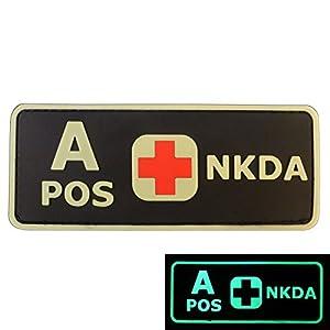 PVC Gomme 3D GITD Velcro Écusson Patch Groupe Sanguin NKDA Lumineux Combat Tactical GID