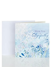 Blue Floral Sympathy Greetings Card