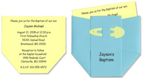 Diaper Baby Baptism Invitations for Baby Boy - Set of 10
