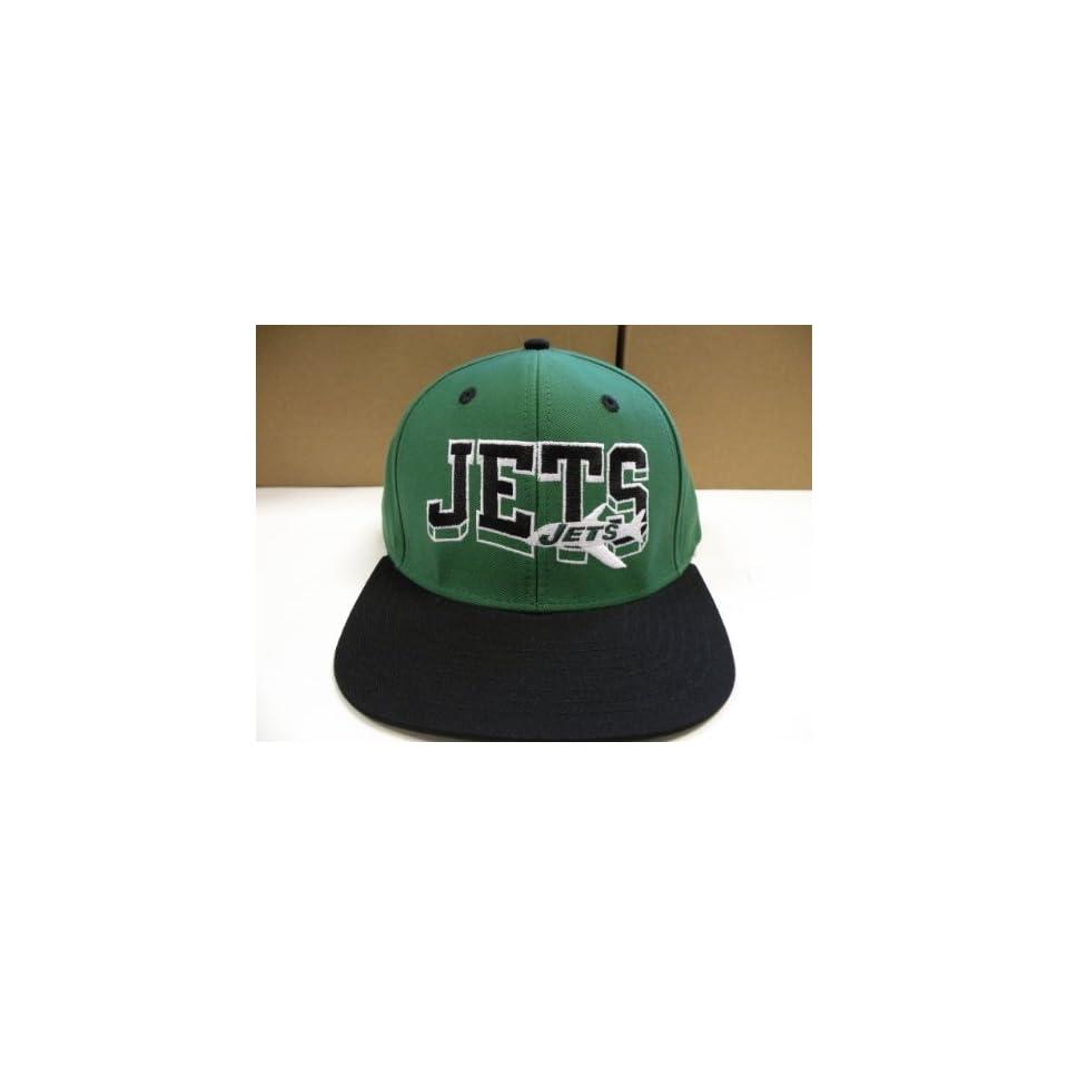 d7558883d NFL NEW YORK JETS BLK GREEN OLD SCHOOL SNAPBACK CAP HAT on PopScreen