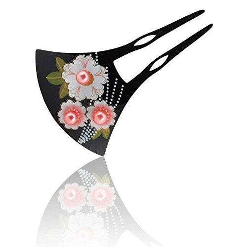 バチ型かんざし 簪 可愛いピンクのパールビーズと 桜の花 + お手入れクロス 2点セット まとめ髪 髪飾り 振袖 留袖 訪問着 ワンピースにも