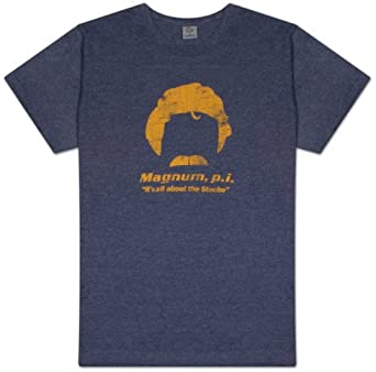 MENS PREMIUM PRINTED T SHIRT Magnum P.I. It''S All About The Stache Vintage Blue S