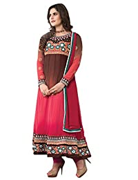 Zohraa Zarine Khan Suit Pink And Brown Faux Georgette Anarkali Suit KasatZareen1002