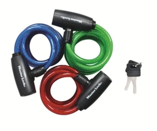 master lock 8127tri bike lock cable blue green and red 3 pack bikes for. Black Bedroom Furniture Sets. Home Design Ideas