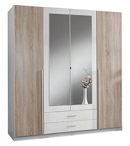 Wimex-119453-Kleiderschrank-4-trig-mit-zwei-Schubksten-und-zwei-Spiegeltren-Front-Korpus-Auentren-Eiche-Sgerau-Nachbildung-180-x-198-x-58-cm