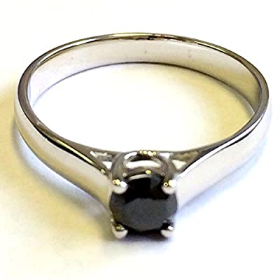 0.50 Carat Black Diamond Solitaire Engagement Ring in Sterling Silver