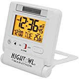 MARATHON CL030036WH Atomic Travel Alarm Clock with 6 Timezones & Auto Backlight in White - Batteries included
