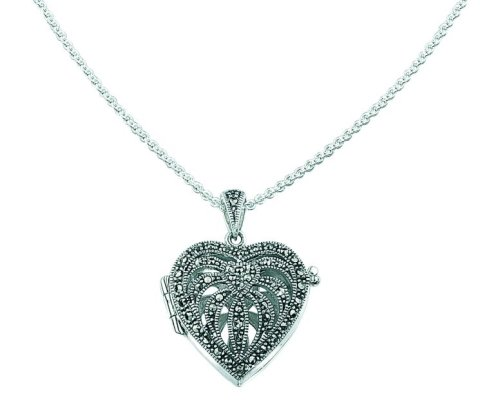 Elements Sterling Silver Ladies' P2083H Marcasite Heart Locket Pendant. 46cm Trace Chain