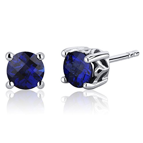 Scroll Design 2.00 Carats Created Blue Sapphire Round Cut Stud Earrings in Sterling Silver