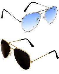 Shara UV Protected Aviator unisex sunglasses set of 2 combo (SHA/AVIBLUEAVIGBK)(Blue & Black lens)
