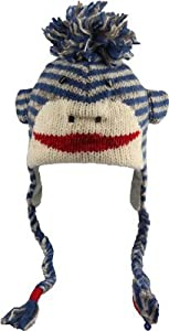 DeLux Cute Sock Monkey Blue and Grey Striped Wool Pilot Animal Cap/Hat with E...
