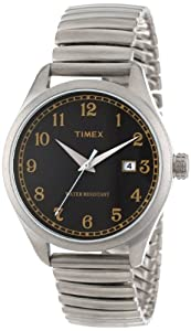 Timex Unisex T2N4009J Originals 1900s Inspiration Black Dial Stainless Steel Expansion Band Watch