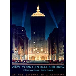 """NY Central Building by Artist Chesley Bonestell 14""""x20"""" Planked Wood Sign Wall Decor Art"""