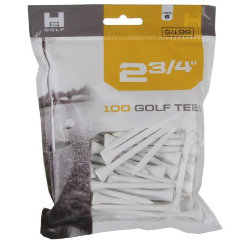 H2 Golf Company Wooden Tee (6-Pack Of 100), White, 2 3/4-Inch