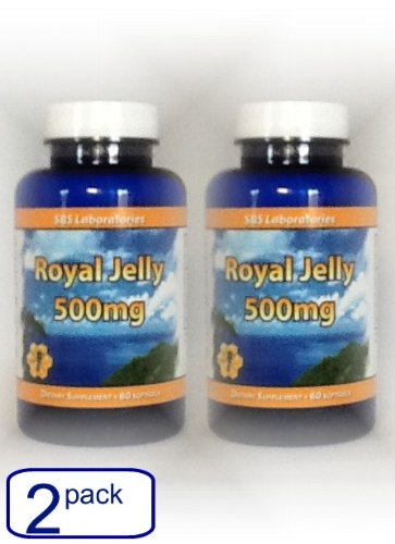 Pure Royal Jelly Supplements 500 Mg Pills-High Potency Freeze Dried- For Energy Fertility Stamina Antiaging (2-Pack)