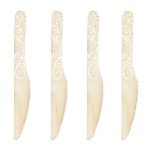 Dress My Cupcake 6.5-Inch Natural Wood Dessert Table Knife, Ivory Filigree, Case Of 1000