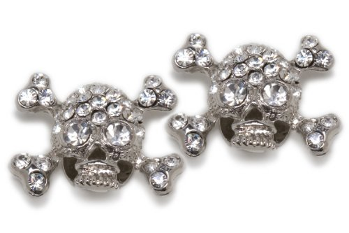 Sassy Clips Skull with Clear Crystal Rhinestones and Clear Crystal Rhinestone Eyes