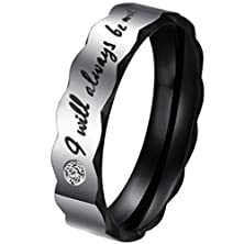 "buy Stainless Steel Cz Inlaid ""I Will Always Be With You"" Unisex'S Wedding Ring Black Rose Goldaooaz Jewelry"