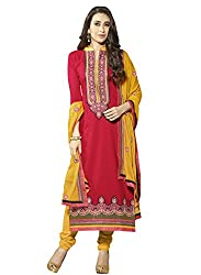 Sheknows Pink Pure Cotton Embroidered Dress Material