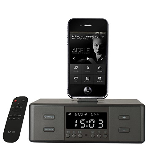 Plater Wireless D9 Digital Dual Alarm FM Clock Radio USB Port & AUX Jack (3.5mm Audio In) 43W Powerful Bluetooth 4.0 Speakers 3 Lightning Docks for Iphone & Android Smartphones - Black (Digital Clock Radio Ipod compare prices)