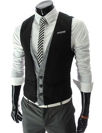 TheLees (VE35) Mens Layered Style 3 Button Slim Vest Waistcoat Black Large(US Medium)