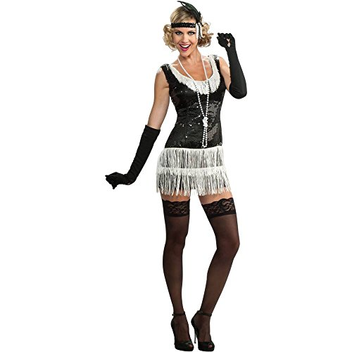 Black Sequin Flapper Adult Costume