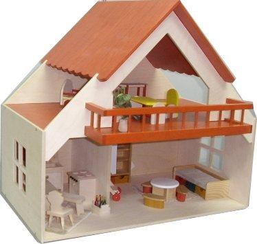 Rülke Holzspielzeug 23193 Haus mit Balkon, rot