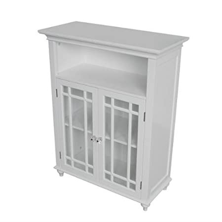 "Neal Double Door Floor Bathroom Cabinet (White) (34""H x 26.5""W x 12""D)"