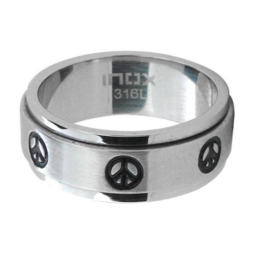 Size 9 - Inox Jewelry 316L Stainless Steel Peace Sign Spin Ring