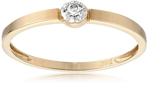 10k Yellow Gold Diamond Solitaire Promise Ring (0.02 cttw, I-J Color, I2-I3 Clarity), Size 6