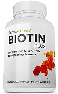 BEST Biotin Formula | Biotin Plus from IntraNaturals |90 Vegetarian Capsules | Advanced Hair, Skin, & Nails Complex Containing 5,000mcg of Biotin + Vitamins C, E, B3, B6, and B12 - Non-GMO - Lifetime Guarantee