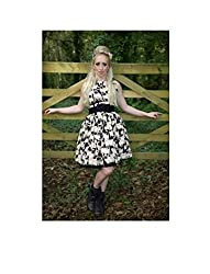 1950s Style 1950s Style Perfect Cute Novelty Dogs Print Ladies Dress