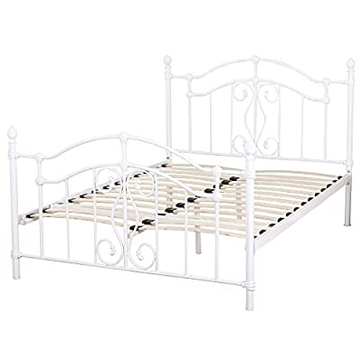 iHaushalt 4ft6 Royal Metal Double Bed Frame without Mattress (Ivory)