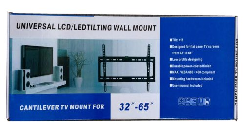 """E-OnSale Universal Mounts Flush Tilt Dual Hook (1.3"""" from wall) Flat Screen TV Wall Mount Bracket for 32-65 inch Plasma, LED, and LCD TVs Up To VESA 700x400 and 165lbs, Including 10' Braided High Speed HDMI Cable and Magnetic Bubble Level TV Mount T65"""
