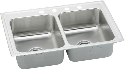 Elkay LRAD3321400 0-Hole Double Basin Top-Mount from the Gourmet Lustertone Series Stainless Steel Kitchen Sink