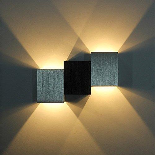 AGPTEK moderna 3W a LED quadrato parete lampada Hall portico passerella soggiorno camera da letto luce Fixture (Argento)