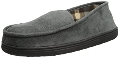 Perry Ellis Men's Micro Suede Moccasin Slipper with Plaid Lining, Grey, X-Large