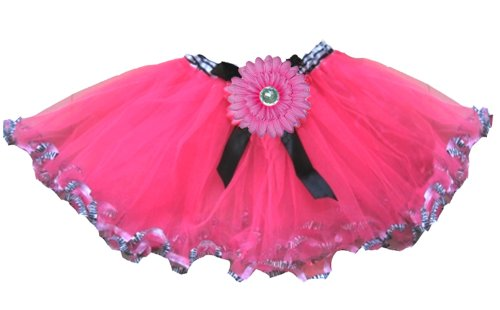 Zebra Print Tutu Skirt Hot Pink Black Flower Animal Print Girls Costume Party