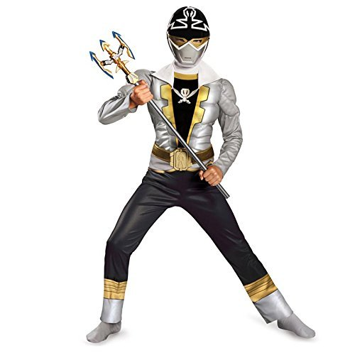 Disguise Saban Super MegaForce Power Rangers Special Ranger Silver Classic Muscle Boys Costume, Medium/7-8 by Disguise (Saban Super Megaforce Power Rangers Muscle Costume)
