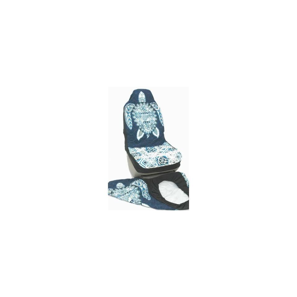 Hawaiian Car Seat Covers, Blue Big Turtle, set of 2 Front Bucket seat covers, Made in Hawaii USA