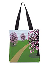 Snoogg Abstract Illustration Of A Background With Trees Designer Poly Canvas Tote Bag