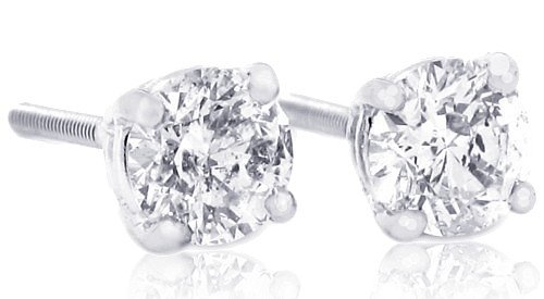 1 carat Total Weight Round Diamond Stud Earrings in 14Kt White Gold, Screwback (GH -I1)-W