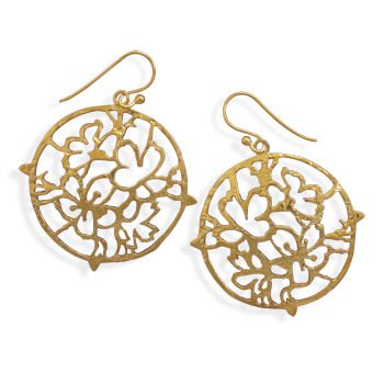 Sterling Silver 14 Karat Gold Plated Cut Out Abstract Design Earrings
